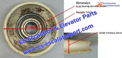 ESMitsubishi Elevator Parts ES-BR-01 Door Roller 72x16x15mm 6