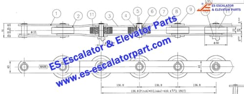 ESLG/SIGMA Escalator Parts Step Chain 136.8