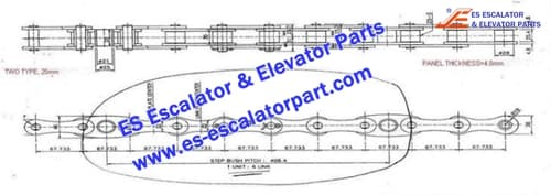 ESMitsubishi Escalator Parts Step Chain pin25